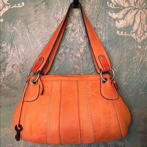 FOSSIL rustic tangerine leather hobo